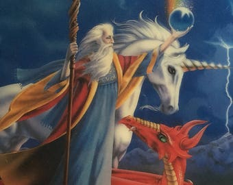 Wizard Dragon Unicorn print on wood with clear shellac wall hanging