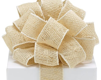 """5 Yards of 2"""" Tan  BURLAP RIBBON ,  Cream colored burlap ribbon with wired edge. ,  Crafts - Bows Trim, Party Supplies, Scrapbooking"""