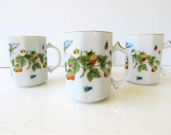 Set of 4 Vintage Coffee Mugs- Ardalt Japan and China - Lenwile China - Strawberries and Butterflies Pattern - Porcelain Mugs -