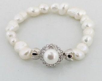 Bridal  12mm Pearl Bracelet, 12 mm Ivory Fresh Water Pearl Bracelet  925 silver Clasp