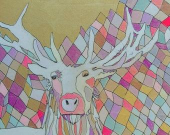 Deer Jennifer Mercede painting 5x7in 'Majesticm'