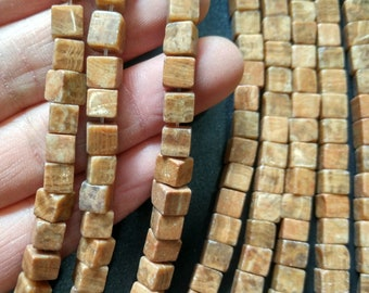 Natural Brown Stone Cube beads 6x6x6mm- approx 65pcs/Strand