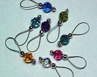 Handmade Stitch Markers - Rainbow Swarovski Crystals - US 10 - Item No. 619