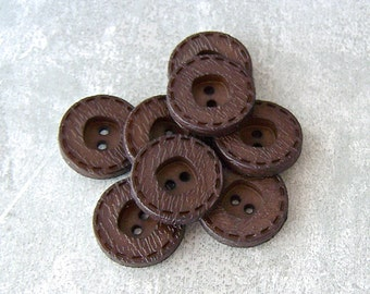 Faux Leather Buttons, 18mm 3/4 inch - Dark Brown Sewing Buttons w/ Ring-Around Stitch - 8 VTG NOS Americana Brown Sew-Through Buttons PL217