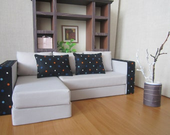 Designer Quality White Angle BARBIE SOFA.   Great gift idea for your Girls !