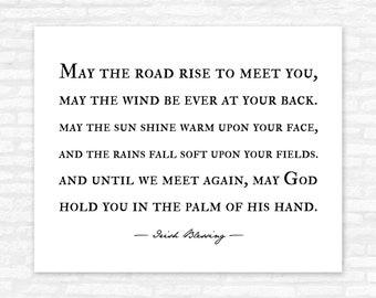 Irish Blessing Print, May the road rise to meet you, Farmhouse Art Print, Irish Prayer