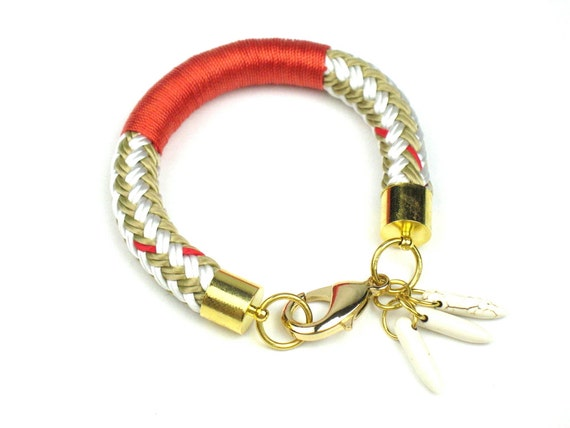 Nautical Bracelet in Beige and Gold Cord with Howlite Dagger Charms is Wrapped with Orange Red Trim