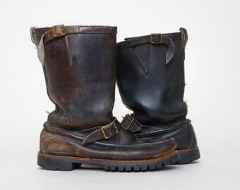 Vintage Gokey Brown Leather Snake Proof Engineer Hunting Motorcycle Boots, 9.5