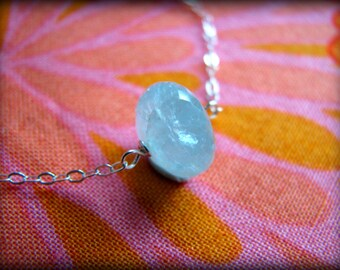 Aquamarine March Necklace - Donut Rounded Petite Blue Birthstone Pendant Sterling Silver  - Gift Birthday Daughter Wife Mother Sister Cousin