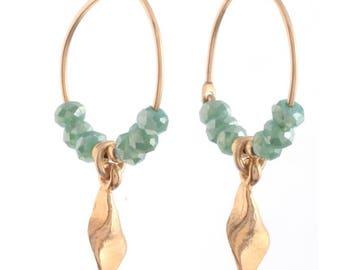 Hoop  Earrings , Leaf Charm , Swarovski Crystals Hoop Earrings , 14 k Gold filled Hoop  Earrings , Hand Made Earrings ,Statement Earrings