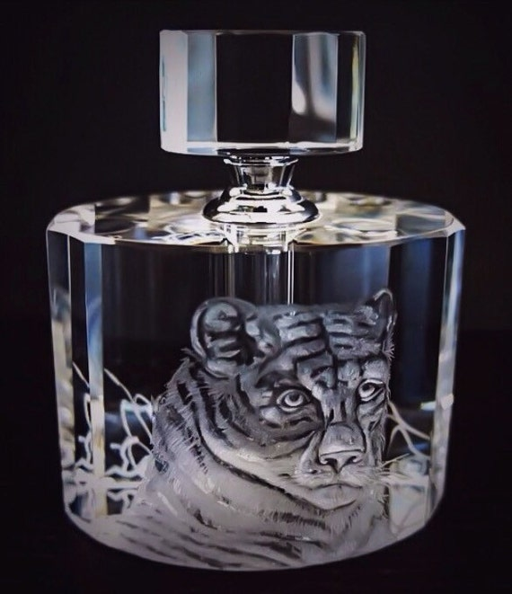Hand Engraved Perfume Bottle, Oleg Cassini Crystal, Mini Perfume Bottle, Perfume Bottle, Tiger, vanity Tray, Perfume Tray, Etched Tiger head