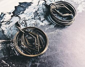 Brass hoop earrings with diamond finding