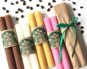 SALE Starbucks Candle Hand Rolled Beeswax Taper Candles Pair of Dinner Candles Coffee colored Natural Candles Pure Beeswax Handmade Candles