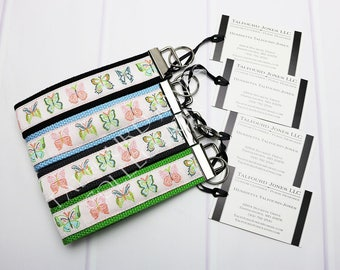 Butterfly Keychain - Butterflies Key Fob -  Butterfly Wristlet - Peach Key Fob - Key Ring Lanyard - Preppy Key Fob - Gift Under 10