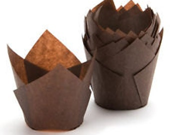 "2"" 250 Brown Tulip Cupcake Liner Standard Size Muffin Baking Cups Lot"