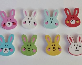 Wooden Bunny Buttons X 8, Easter, spring,