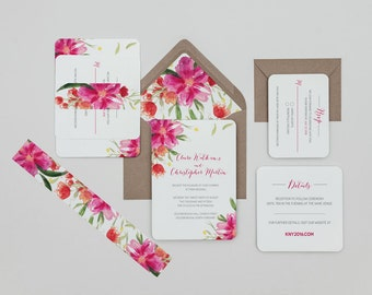 Modern Bright Floral Wedding Invitation Template,Modern Pink Floral Wedding Invitation Digital Download,Floral Wedding Printable Invitations