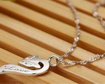 Sterling silver 925, Fox, animal pendant, love