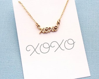 Birthday Gift | Cursive XOXO Necklace, Dainty Necklace, Layered Necklace, Layering Necklace, Cursive, Boho, Gift for Her, Silver, Gold | X06