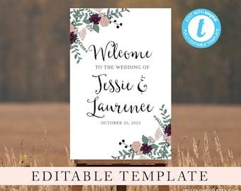 EDITABLE Large Wedding Welcome Sign Template, Printable Wedding Sign, Reception Entrance, Floral Wedding Sign, Templett, Digital File