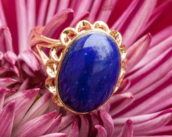 Vintage Large Oval Lapis and 14k Solid Yellow Gold Ring, Size 5