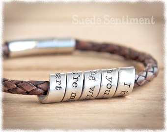 Mens Jewelry • Anniversary Gifts For Men • Long Distance Relationship • Mens Personalized Bracelet • Gift For Men