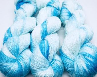 "Free Shipping! ""Summer Sky"" ready to ship on Southern Sock 75/25 SW Merino & Nylon. 430 yds. Tonal blues."