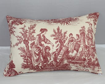 Lumbar Pillow  Waverly Red Garnet French Toile Country Life    14 x 9 inches