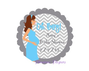 Personalized PRINTED boy baby shower sticker blue and gray chevron baby shower favor stickers blue pregnancy stickers labels