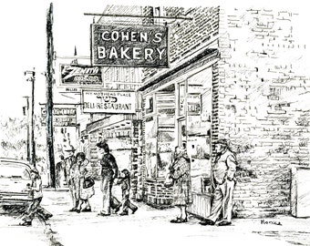 Pen and Ink Drawing of Cohen's Bakery (Ellenville, New York)