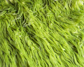 """CLEARANCE- 18""""x31"""" Olive Green Mongolian Faux Fur Nest Photography Prop Rug Newborn Baby Toddler"""