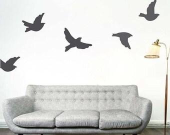 Flying Birds Removable Vinyl Wall Decals, Bird Wall Decal, Bird Wall Mural, Bird Wall Art, Sparrow Wall Design, Dove Wall Decal, Birds, d16