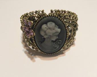 Smokey Cameo Cuff Bracelet