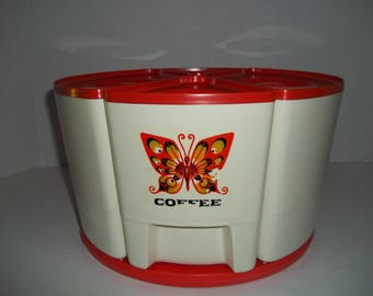 Vintage Plastic Orange & Cream Steri-Lite Canister Set w Lazy Susan Butterflies!