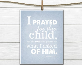 Bible Verse Nursery Print 1 Samuel 1:27 PDF Digital Download
