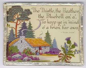 Antique Scottish / Scotland Motto by Allan Junior: 1920s or Earlier in Britain - Heather & Thistle Theme - fr Seller's 40+ Year Collection