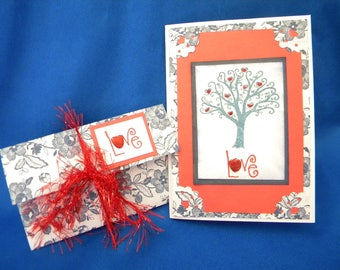 Hand Stamped Love Card, Gift Card Holder in Red, White, & Blue with Hearts, Flowers, Tree for Valentine, Wedding, Anniversary, Birthday