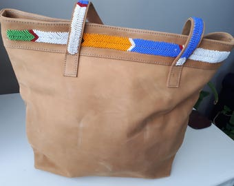 Leather Bag with Bead Straps