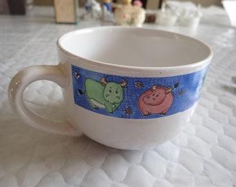 """Whimsical 5 X 3 1/2"""" Handle Soup Mug/Bowl Steers/Cows"""