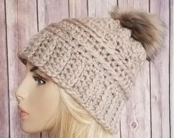 Crochet Women's Champagne Cream Slouch Beanie with PomPom