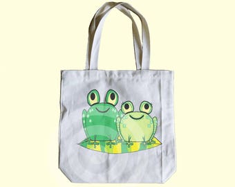 Frog tote bag 13x13x3 inches - Shopping tote bag - Children tote bag - Book tote bag