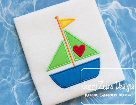 Boat with Heart Appliqué embroidery design - Valentines Day appliqué Design - Valentine appliqué design - boat appliqué design