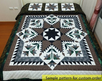 Taupe quilt, Feather Star Quilt, King Size Quilts, Queen size, Amish, Appliqued Quilt, Bedspread, Hand quilted quilt, Patchwork quilts,brown