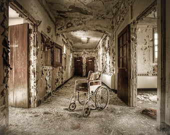 Abandoned Asylums, Old House, Wheelchair in the Hallway, What has become, Coffee and Cream Colors, Spooky, Urbex, HDR, Signed