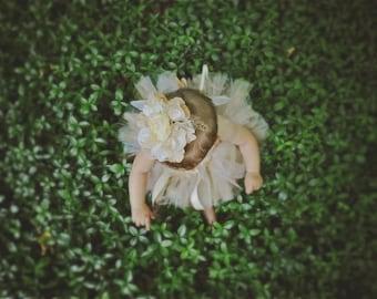 All That Glitters - Custom Sewn Tulle Tutu Skirt - infant, toddler, girl - shimmer gold and ivory - Flower girl, party, birthday, photo prop