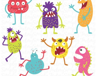 Cute Monsters Clip art Set, Funny monster, Litter monster, Monster theme,Perfect for cards, invitations, scrapbooking and paper crafts Ms001
