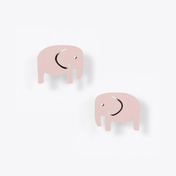 Light Pink Elephant Stud Earrings