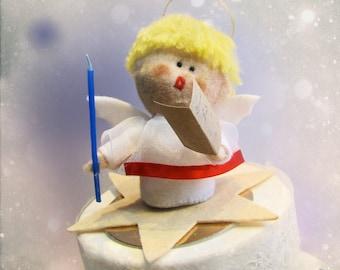 Christmas Caroling Singing Angel Ornament Felt Sculpture - handmade felt doll for Xmas Cake topper keepsake softie - Hand Made in France