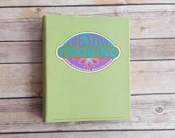 Recipe File Binder Creative Cooking Recipe Page Organize Recipes 1960s Vintage Recipe Holder Green Tabs Retro Kitchen Three Ring Binder