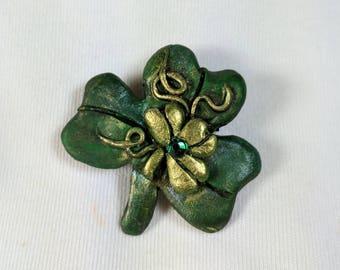 Broche trèfle, St-Patrick, trèfle vert, chance des irlandais, les teintes de vert, bijoux de fêtes